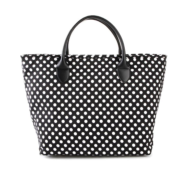 Agnes Polkadot Handbag by Tutu. Polkadot handbag with one main compartment, zipper, front pocket, inner pocket, polkadot pattern print allover, handle drop 10 cm. Vute polkadot bag to carry your thing, perfect for beach or office bag. http://www.zocko.com/z/JHBhG