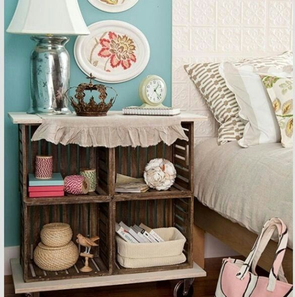 another beach style bedside table. made using wooden crates. that crown is everything.