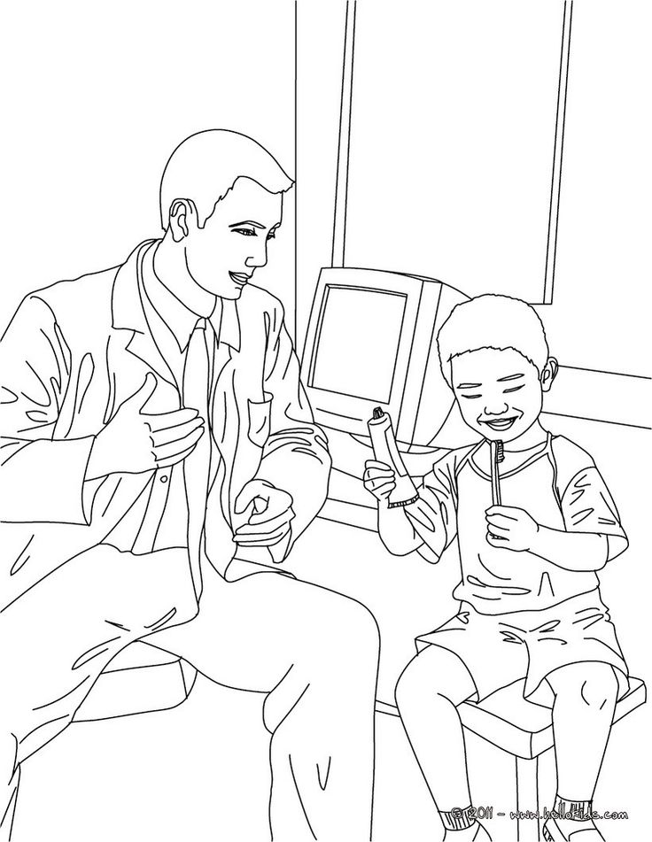 Print this Dentist and kid in the dental surgery coloring page out. Amazing way for kids to discover job. More original content on hellokids.com