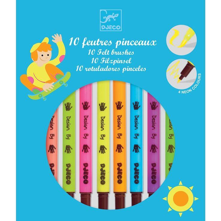Filctoll ecset készlet ragyogó színekben 10 darabos Djeco Pop colors