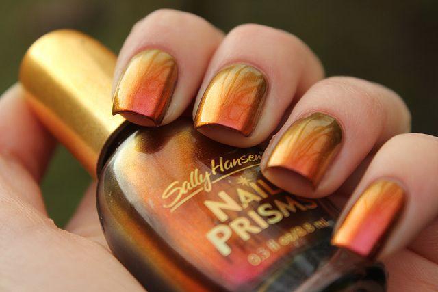 metallic sunset nails