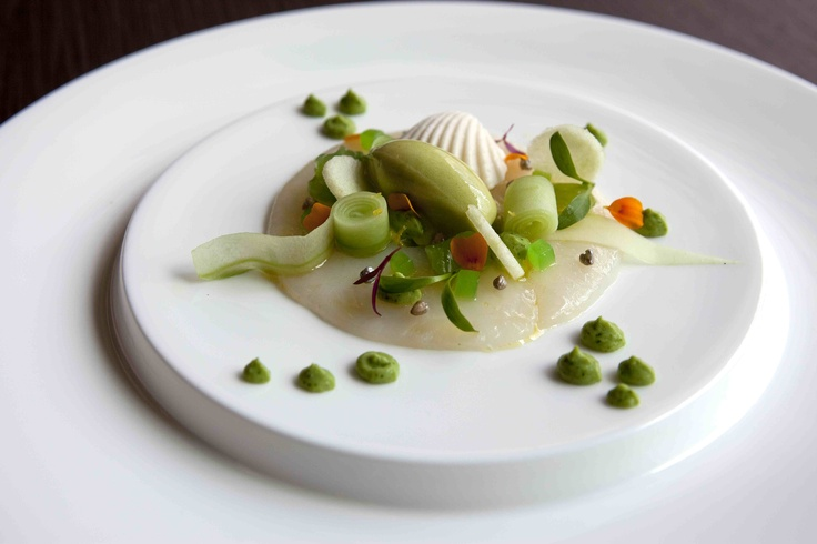 """Terry Durack's top dishes for August: try this dish simply titled """"Scallop"""" - a seashell of moulded goat's cheese with scallop meat, apple and coriander sorbet, avocado and coriander cream and silver-coated buckwheat. At Cara in Westfield Sydney, carandco.com"""