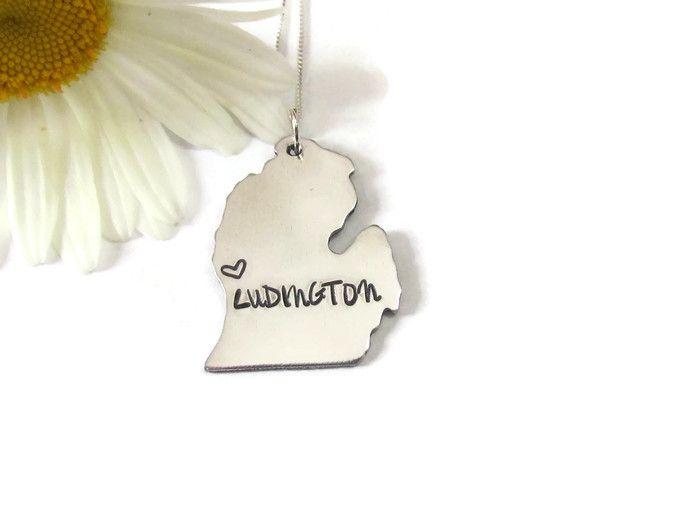 Michigan State Map Necklace - Ludington