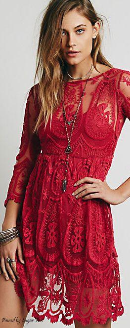 Red lace boho bohemian