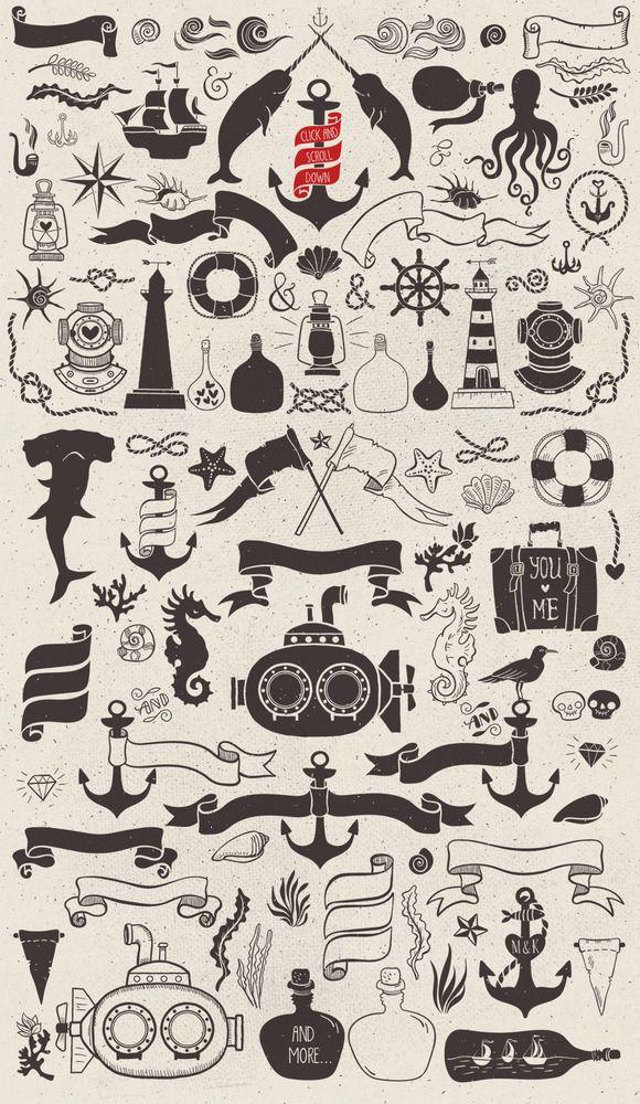 Nautical romantic vector pack