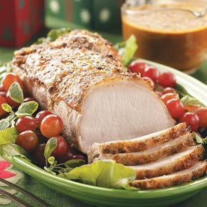 Perfect for Christmas or New Year's Eve. A mouthwatering ginger gravy and tender vegetables complement the moist herbed roast.
