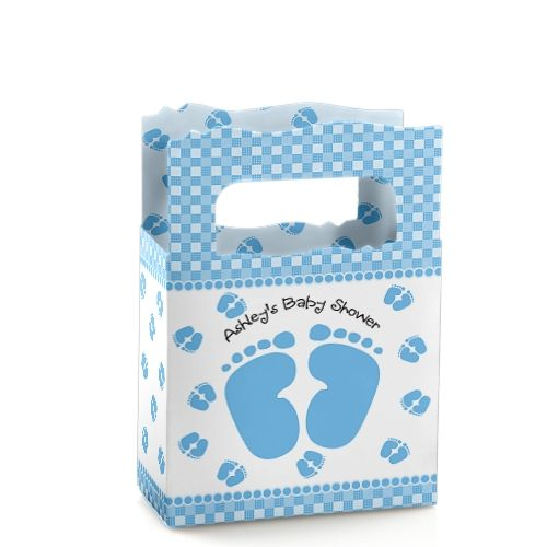 Baby Feet Blue - Mini Personalized Baby Shower Favor Boxes $0.99