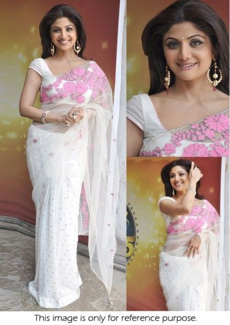 Bollywood Actress Shilpa Shetty Net Saree in White color