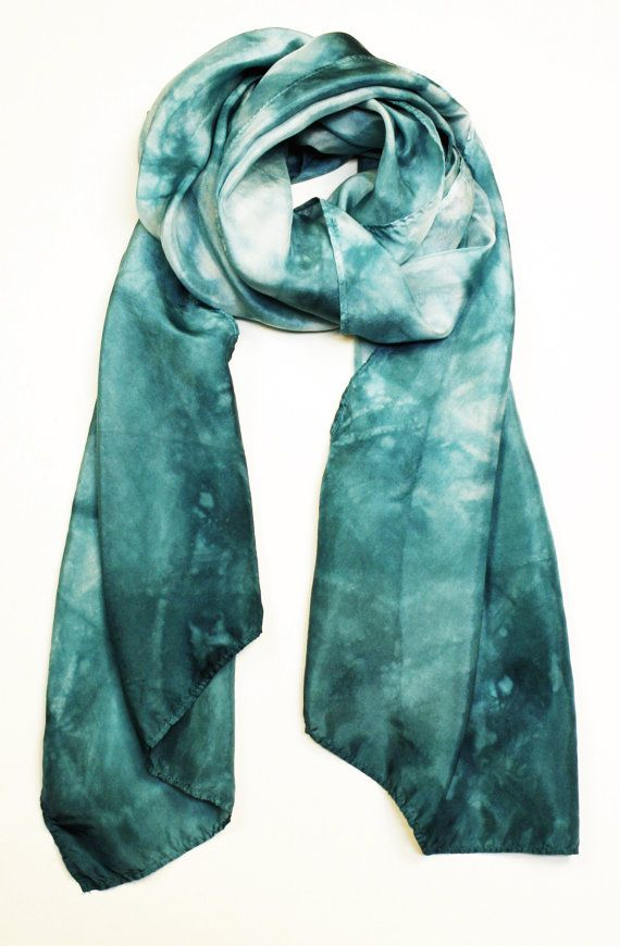Silk Scarf, shibori scarf, womens, boho accessories, teal scarf  Deep shades of teal give this scarf a calming feel. The scarf has been bound and