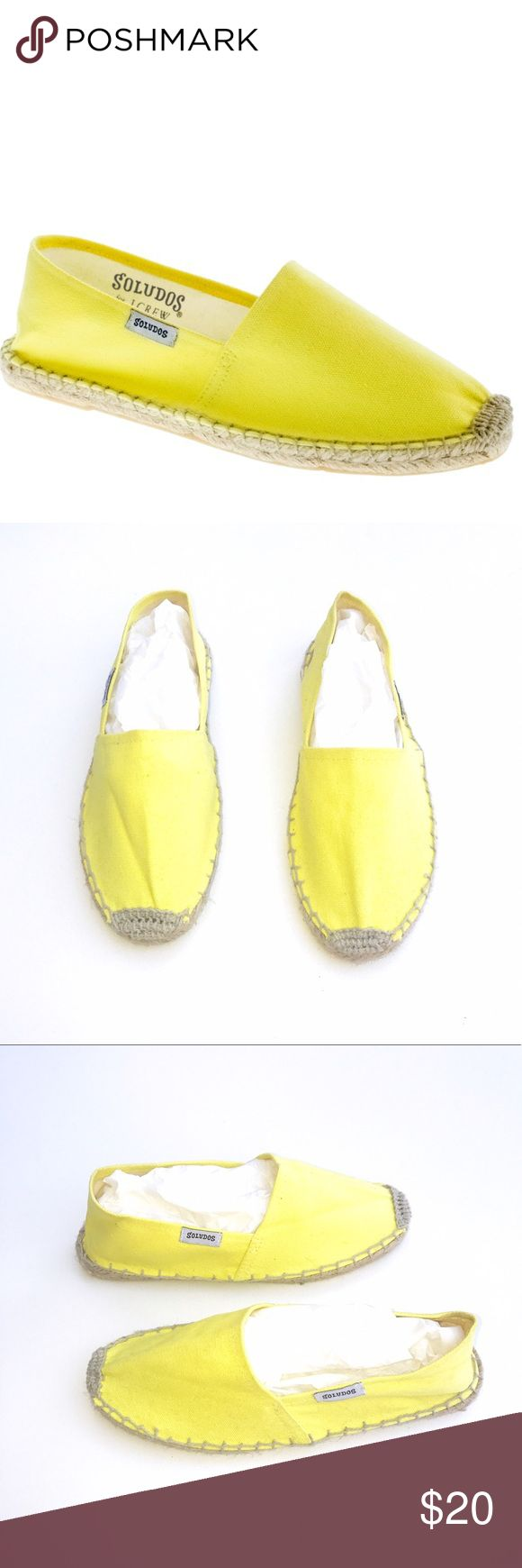 J. Crew Soludos Yellow Espadrilles Yellow espadrille flats by Soludos for J. Crew. Never worn. Small marks from storage. Size 37.  •lowball offers declined •no trades •ask all questions before buying •unfair ratings from buyers are reported & buyer will be blocked - I don't misrepresent my products; what you see is exactly what you get & my prices are way more than fair. Please be kind as I always strive to be kind to you Soludos Shoes Espadrilles