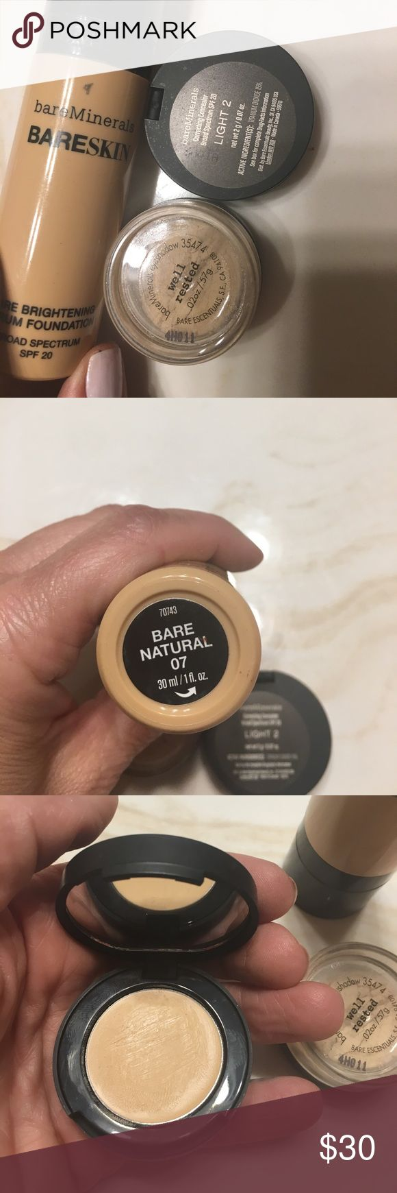 Bare minerals: foundation, well rested, concealer Bare minerals: bare skin foundation- bare natural 07-used maybe 1/4 of, well rested- used maybe 1/8 of, concealer- light #2- only swabbed top with qtip- sale as bundle bareMinerals Makeup Foundation