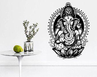 Wall Decal vinile autoadesivo Decals Art Home Decor murale elefante indiano tribale modello Om segno Ganesh Buddha Lotus Yoga arte camera dormitorio AN440