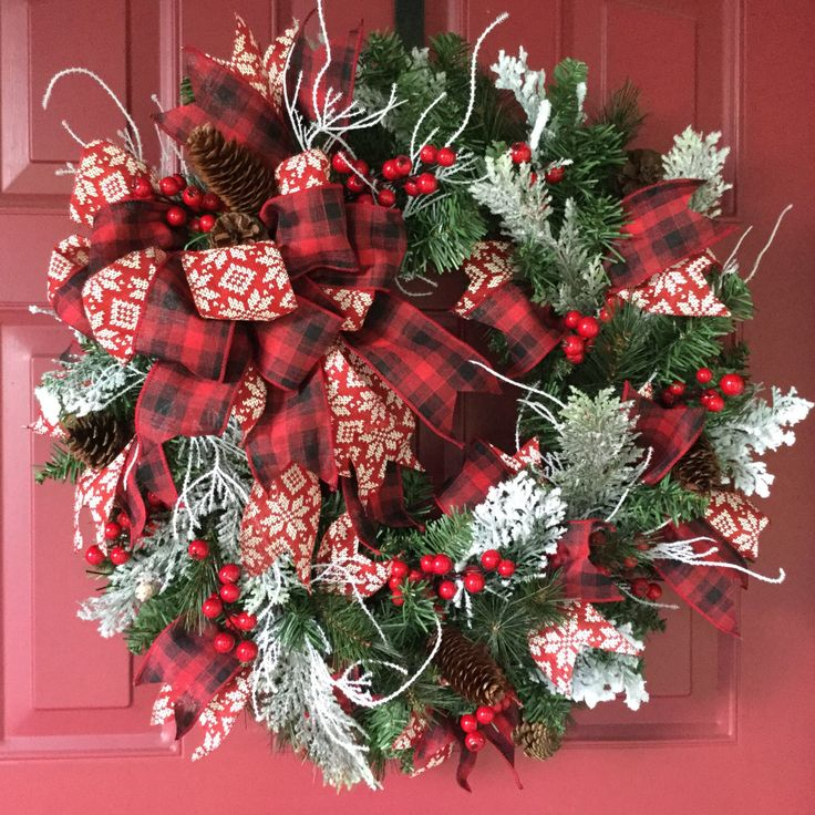 Christmas Wreath Holiday Door Wreath Evergreen Christmas