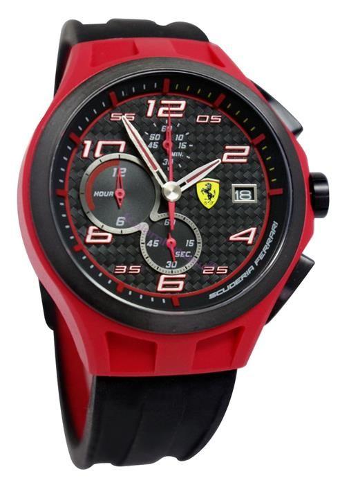 Ferrari LapTime Chronograph 44mm Silikon Kayış ve KarbonFiber Kadran Kol Saati