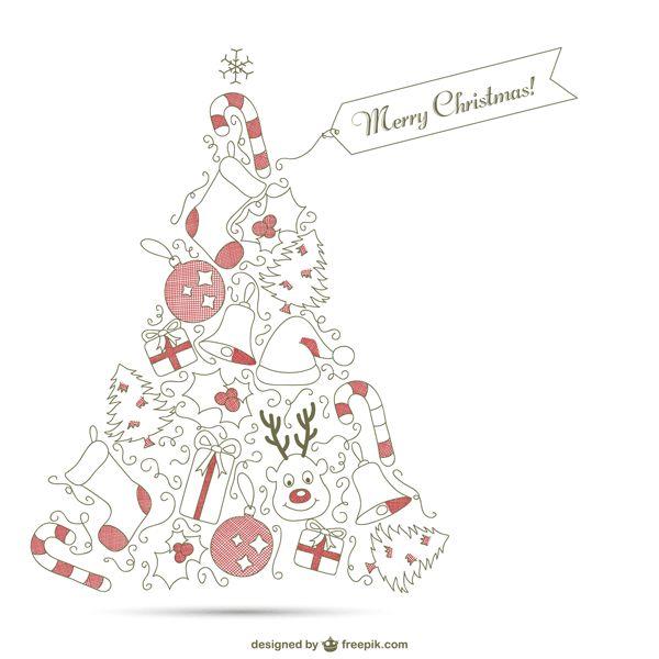 ゆるいタッチのラインで描いたシンプルで可愛いクリスマスカードのイラストテンプレート