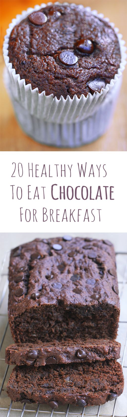 20 delicious & surprisingly wholesome chocolate breakfast recipes – because sometimes, you just wake up craving chocolate!     If you're a chocoholic like me, you'll probably understand what I'm about