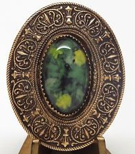 Large ANTIQUE Oval JEWELED Gay 90's BUTTON Stamped Tinted Brass