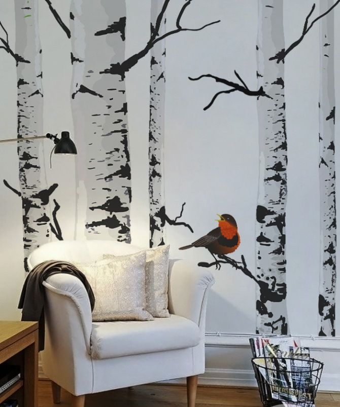Best 25 tree wall painting ideas on pinterest branch for Brewster birch wall mural