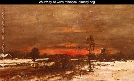 A Téli táj Sunset - Munkácsy Mihály - www.mihalymunkacsy.org