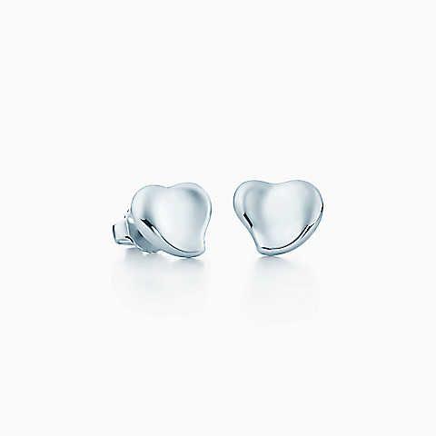 Elsa Peretti® Full Heart earrings in sterling silver, mini.