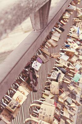 Lovers bridge in Paris, France.