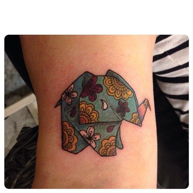 """Cute origami elephant from tonight. Thanks @stefchak! #origamielephant #cutetattoo"""