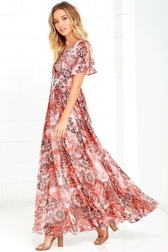 Exclusive print, only at Lulus! Pop the champagne because the Time to Celebrate Blush Pink Print Maxi Dress has arrived! Shades of blush pink and dark brown cover dreamy chiffon over slit short sleeves, and a lace-up bodice. Fitted waist flows to a full maxi skirt. Hidden back zipper with clasp. As Seen On Asypn of Aspyn Ovard blog!