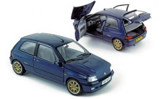Renault Clio Williams 1993 blue - Street cars - Car models - Die-cast | Hobbyland Scale model car made of metal / Die-cast / in 1:18 scale manufactured by NOREV.  It is just a small version of a real car suitable for collectors. Handmade.  Composition: metal and plastic