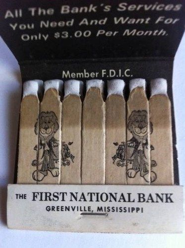 VTG Feature Matchbook THE First National Bank Greenville Mississippi | eBay