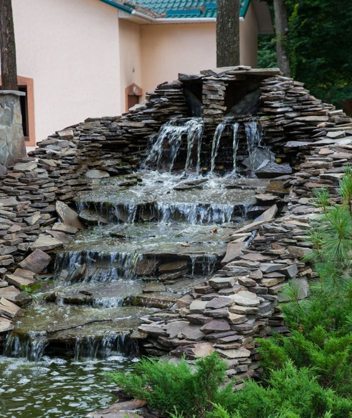 Wasserfall Im Garten Gartengestaltung Wasser Integrieren Exterieur Pool Im Garten Integrieren Wasserfall Im Gart In 2020 Back Garden Design Garden Design Water Design
