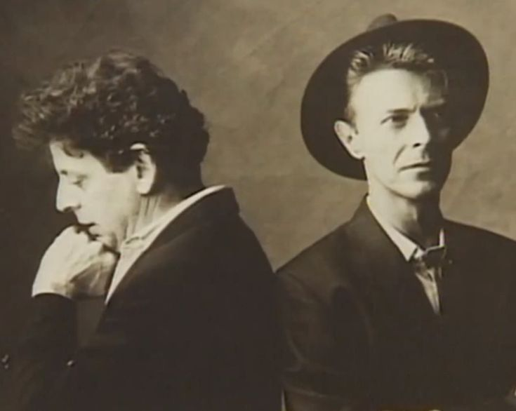 "David Bowie with Philip Glass, 1992. Photo session for the album cover for ""Low"" Symphony by Philip Glass."