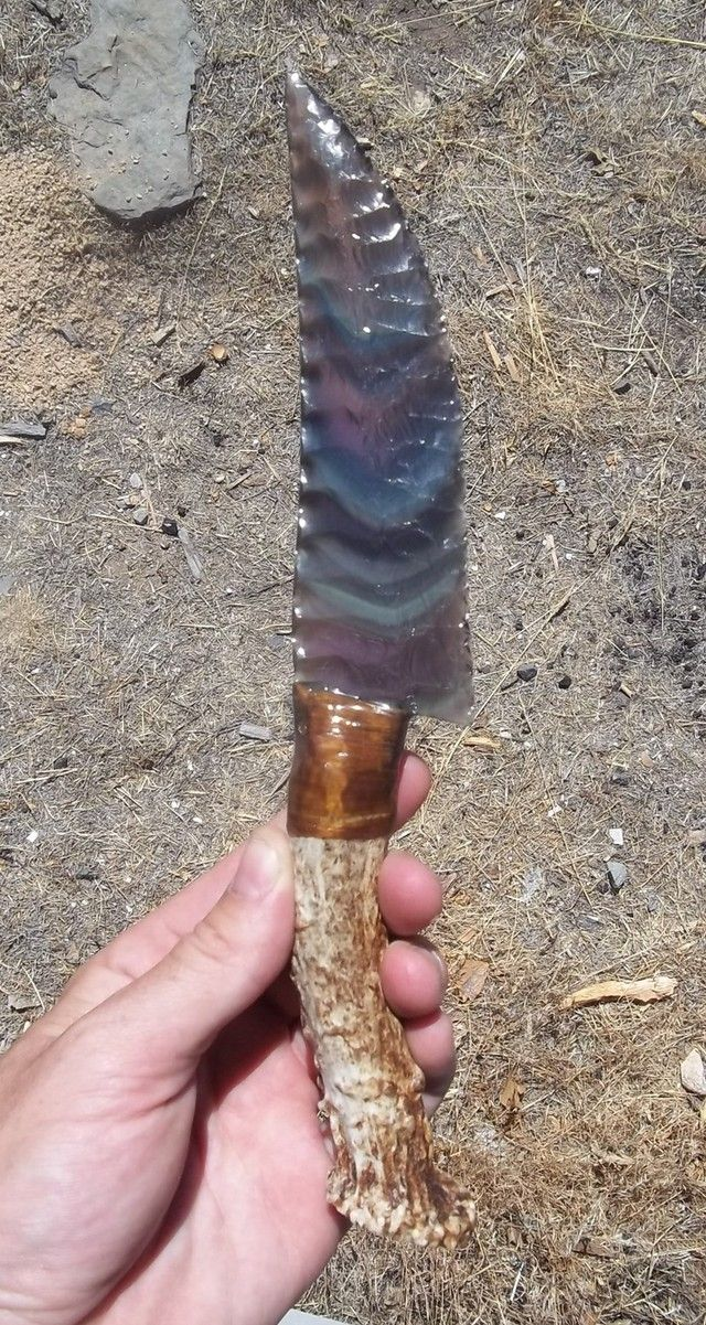 Rainbow Obsidian Knife with Antler Handle - by Steve Cook