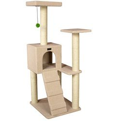 @Overstock - Give your cats a place to play with the eight-level Armarkat cat tree model Ivory faux fleece-covered cat condo features a ramp and holds up to 40 pounds Pet furniture is made of pressed wood and easy to assemblehttp://www.overstock.com/Pet-Supplies/Armarkat-8-level-53-inch-Cat-Tree-Model/4413812/product.html?CID=214117 $69.05