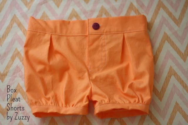 Box Pleat Shorts Free Pattern sizes 12-24 months
