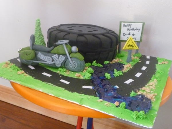 motorcycle birthday cake