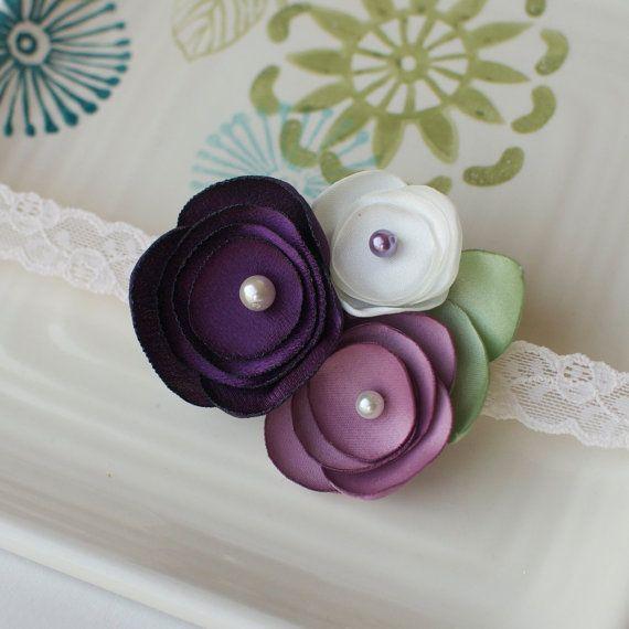 Purple, Lilac, and Cream Handmade Satin Flower Baby Headband on Cream Lace Elastic- Sweet Vintage Look for Infants. $11.50, via Etsy.