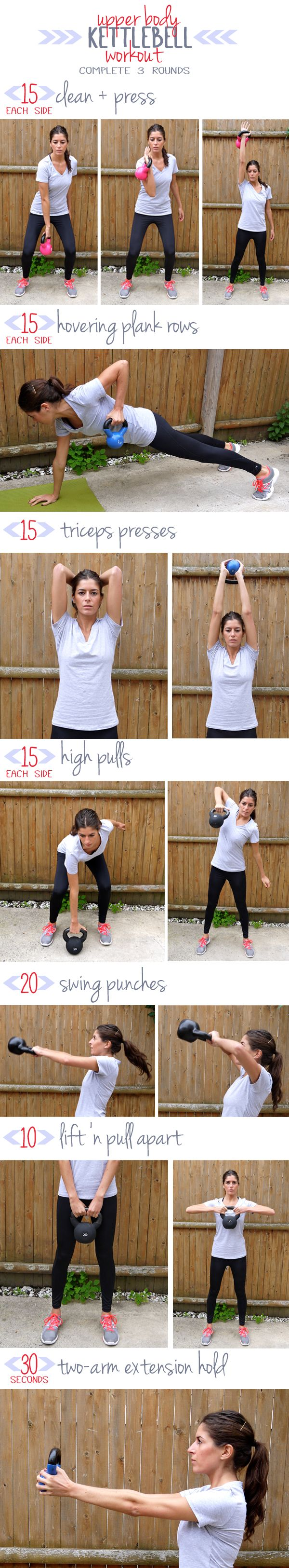 Upper Body Kettlebell Workout -- targets shoulders, upper back, chest and arms.    ps. love this girl's blog! tons of great and practical workouts.
