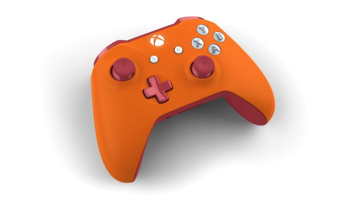 Custom controller with colors: Oxide Red, Zest Orange