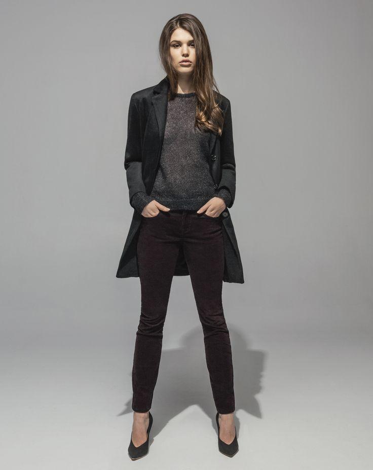 Lambswool Cashmere Girlfriend Coat (Black) Metallic Mohair Sweater (Black) 16 Wale Stretch Cord 5 Pocket Skinny (Plum)