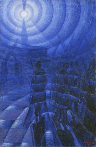 Solidity of Fog 1912 Oil on canvas, 100 x 65 cm.  Luigi Russolo was an Italian Futurist painter and composer, and the author of the manifesto The Art of Noises.