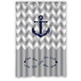 """48"""" x 72"""" Infinity Live the Life You Love, Love the Life You Live.Gray and White Chevron Zig Zag Pattern with Anchor navy Waterproof Bathroom Fabric Shower Curtain,Bathroom decor"""