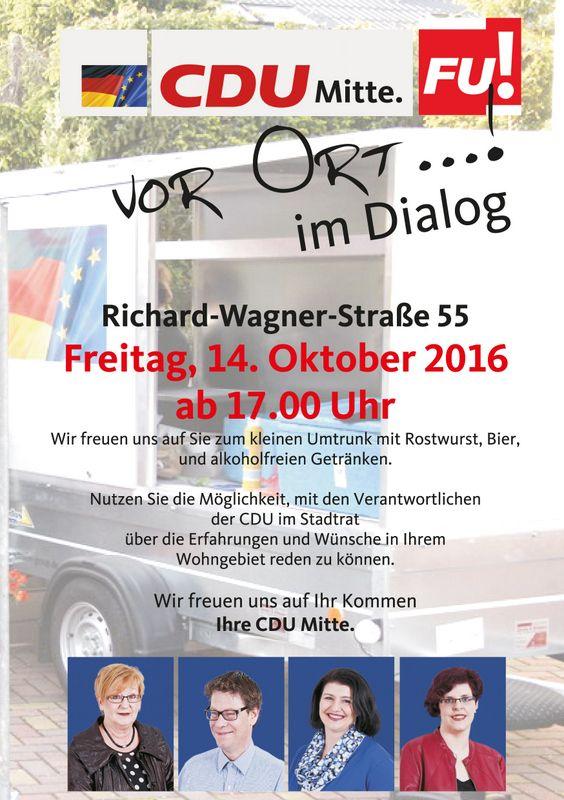 #CDU Mitte und Frauenunion vor Ort im Dialog mit der Bevoelkerung #CDU in Sulzbach/Saar  Neuigkeiten    CDU Mitte und Frauenunion vor Ort im Dialog mit der BevoelkerungBitte klicken Sie auf das BildSULZBACH:Am Freitag den 14. Oktober 2016 kann jeder der Interesse hat in der Richard/Wagner Str. 55 mit unseren Vertretern der #Stadt #Sulzbach ueber Politische Themen oder was ihn sonst noch so bedrueckt http://saar.city/?p=30353