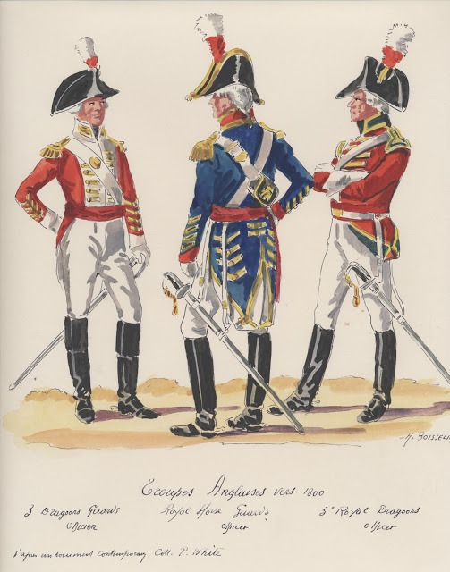 Troupes Anglaises ; vers 1800 . 3th,Dragoons Guard officer,  Royal Horse Guard officer, 3th,Royal Dragoons officer.