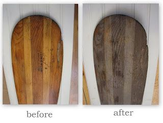 Use this fantastic process to age new oak worktops. Bash a hammer against the edges to soften and age further before applying a matt boat lacquer for durability and longevity.