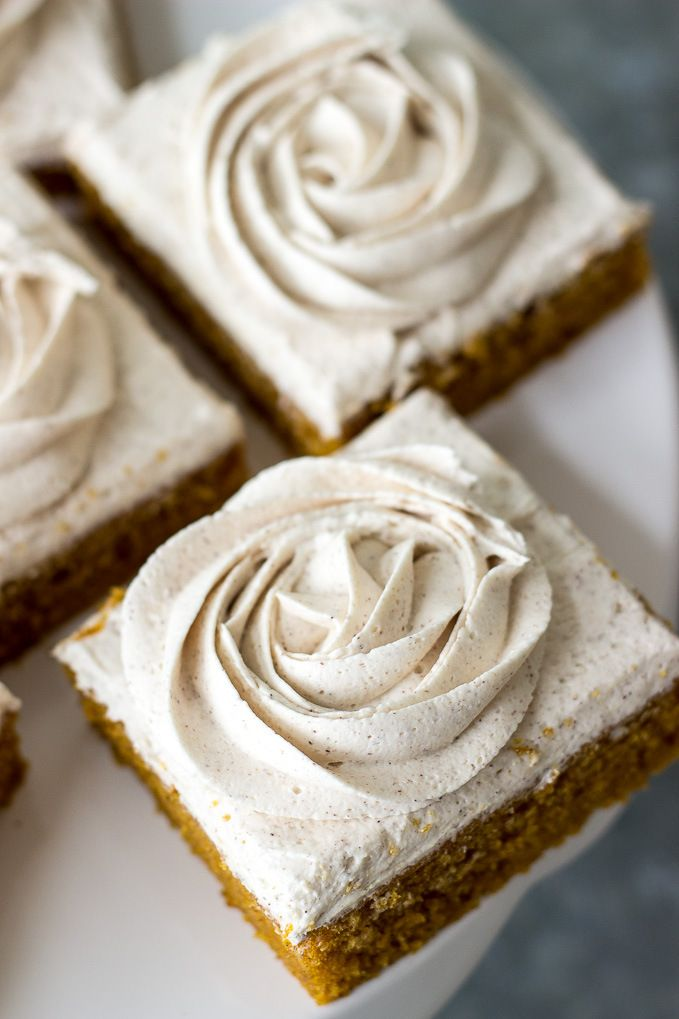 Pumpkin Squares with Cinnamon Vanilla Buttercream Frosting | The Beach House Kitchen