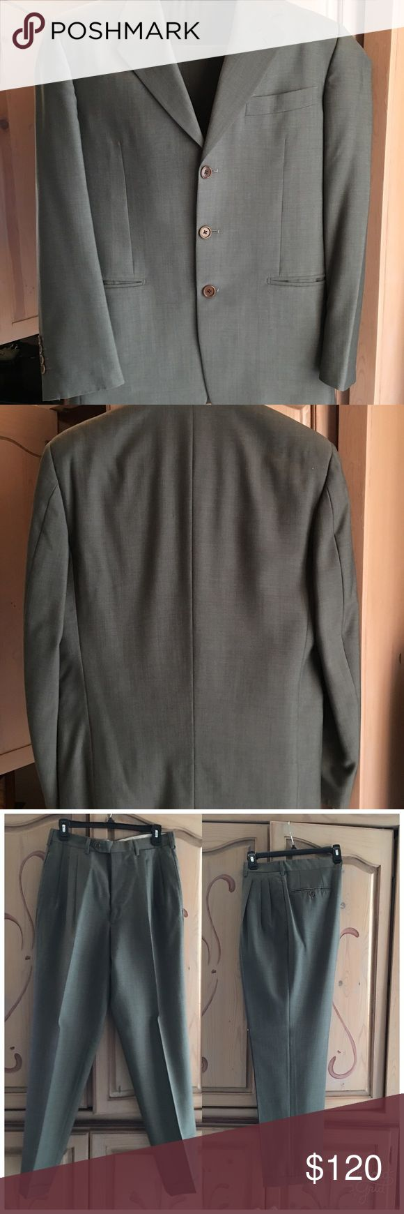 "Men's Italian grey suit Lightweight men's grey suit with cuffed pants. Made in Italy. 42R. Pants 32""waist and 32"" inseam. In perfect condition. No marks stains or damage.  Includes garment bag. Suits & Blazers Suits"