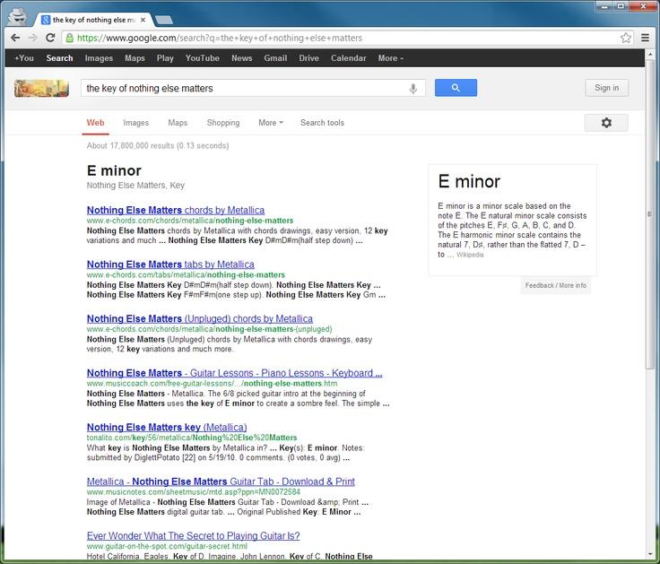 Google Söktips : Metallica - Nothing Else Matters - Key - Chord #googlesearch