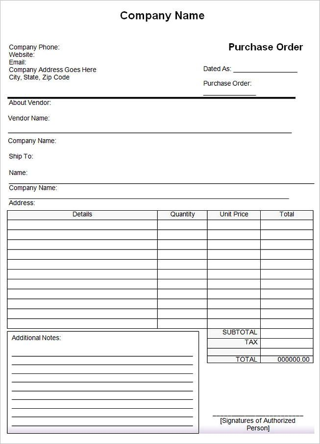 20 Purchase Order Templates Check More At Https Moussyusa Com