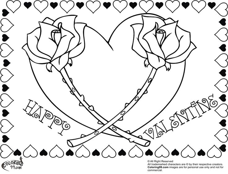 Coloring pages for adults roses and hearts ~ FREE happy valentine rose heart coloring pages for adults ...