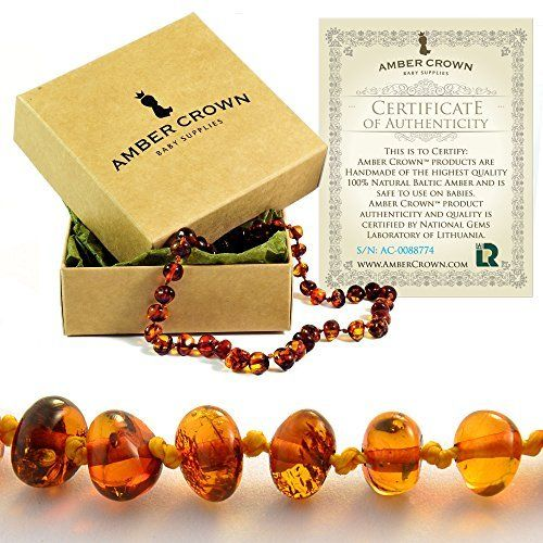 Baltic Amber Teething Necklace For Babies (Unisex) (Honey) - Anti Flammatory, Drooling & Teething Pain Reduce Properties - Natural Certificated Oval Baltic Jewelry with the Highest Quality Guaranteed. Easy to Fastens with a Twist-in Screw Clasp Mothers Approved Remedies!